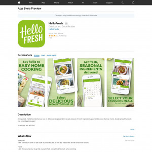 HelloFresh Healthy Food Recipes Delivered (iPhone 9.0+, iPad 9.0+) GB - Non incent