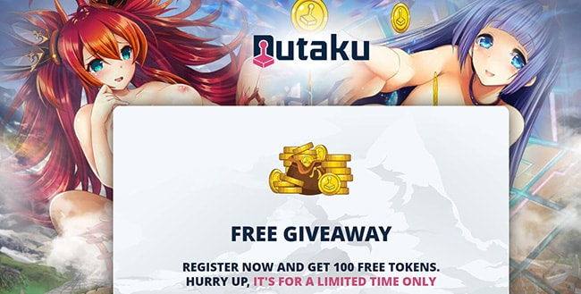 Preview of the Nutaku landing page with a bonus 100 free token giveaway  - Affbank.com